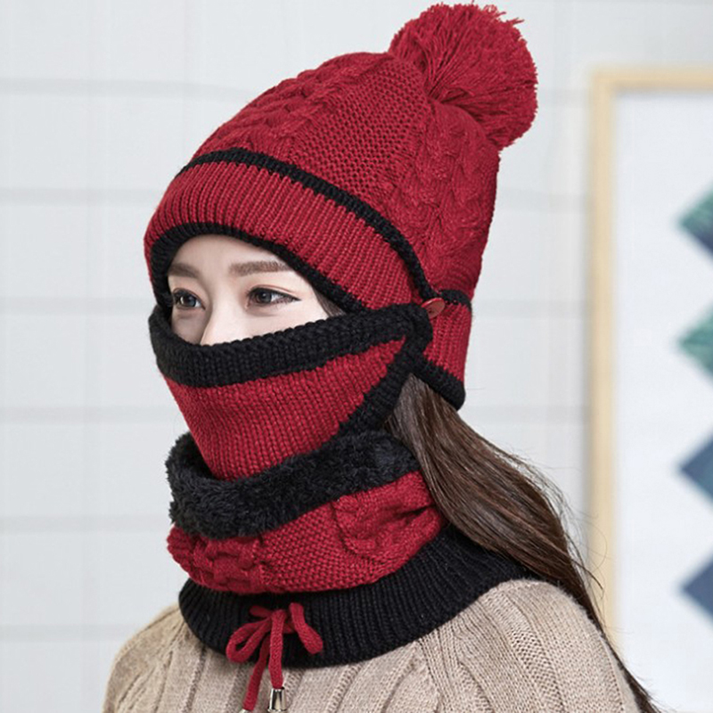 Women Thickened Winter Beanies Knitted Hat With Warm Mask And Neck Scarf Driver Windstop Sets For Women