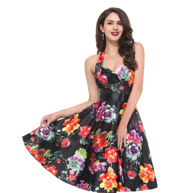 Real Pictures Elegant Flower Print Evening Party dresses Women ...