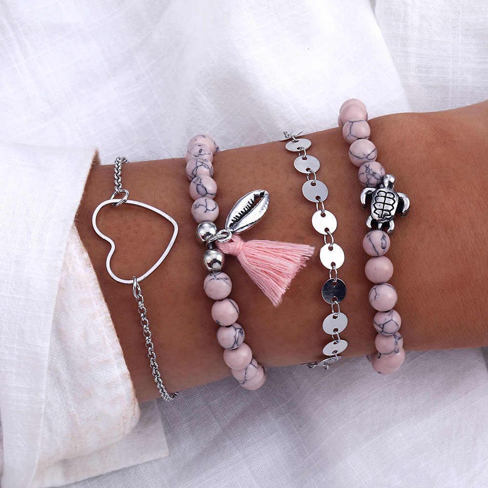 IPARAM Ретро богемный розовый черепаха сердце браслет набор 2019 тренд женский браслет геометрический бисер оболочки ювелирные браслеты и кулоны