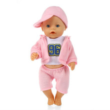 Three Sportswear With Doll Clothes Born New Baby Fit 18 inch 43cm Pink Blue and Red Hat Doll Accessories For Baby Birthday Gift born new baby fit 18 inch 43cm clothes for doll blue pink red star with hairhand clothes accessories for baby birthday gift