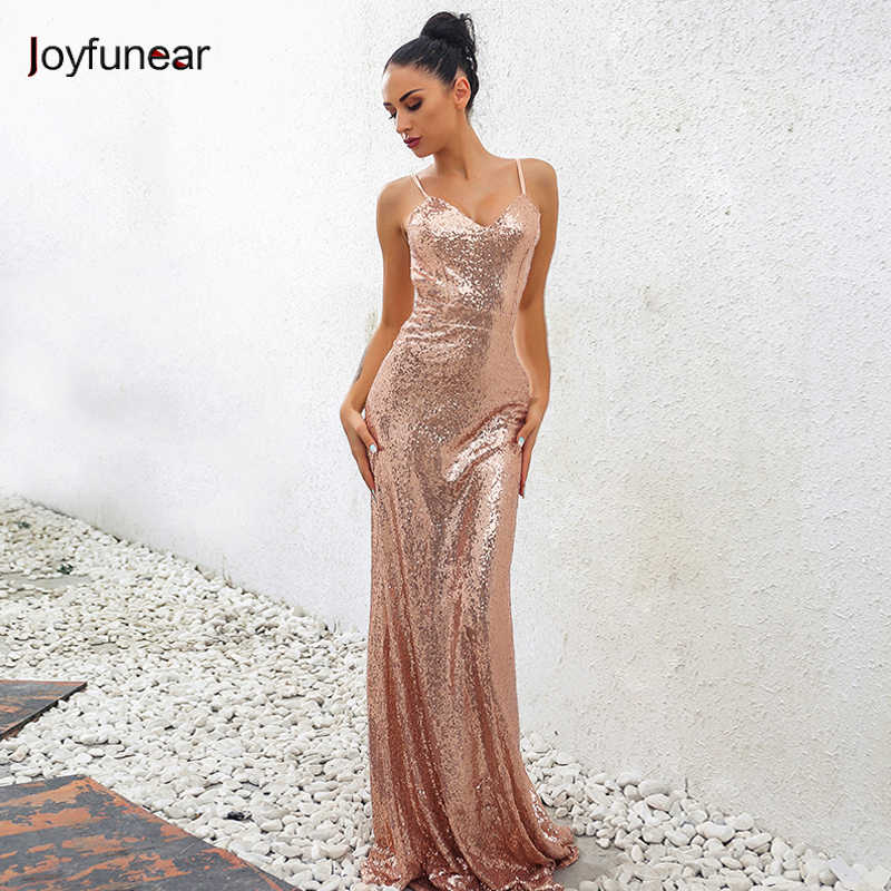 f3cd6b904465c Joyfunear 2018 Summer Beautiful Rosegold Sequin Maxi Dress Party Club Formal  Dress Sexy Spaghetti Strap Vintage