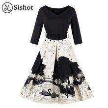 Sishot women vintage dresses 2017 autumn black printed white a line mid calf cotton belt three quarter sleeve v neck retro dress