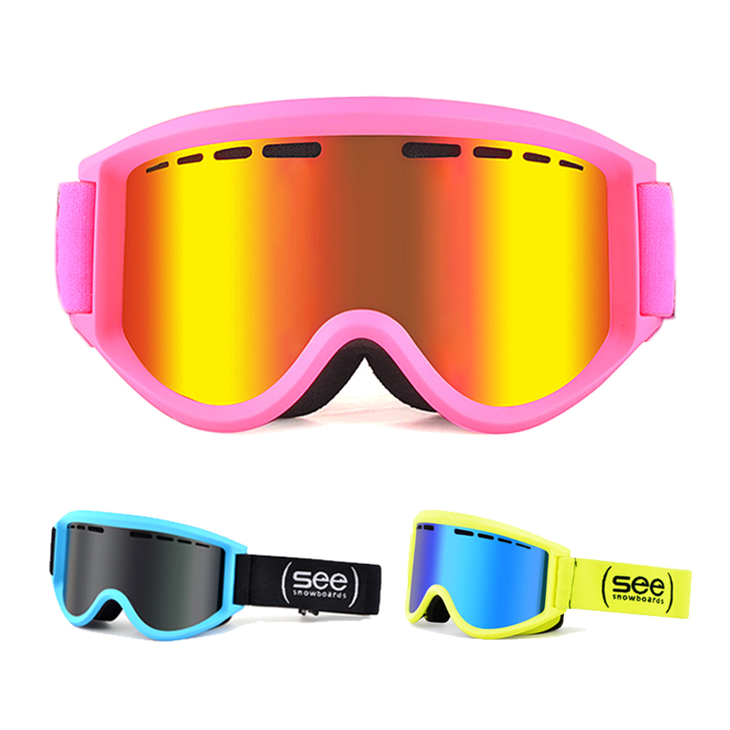 Children Ski Eyewear Double Layers Anti-Fog Slilica Gel Anti-Skid Goggles Removable Lense Coating Film Anti-Scratch Ski Goggles