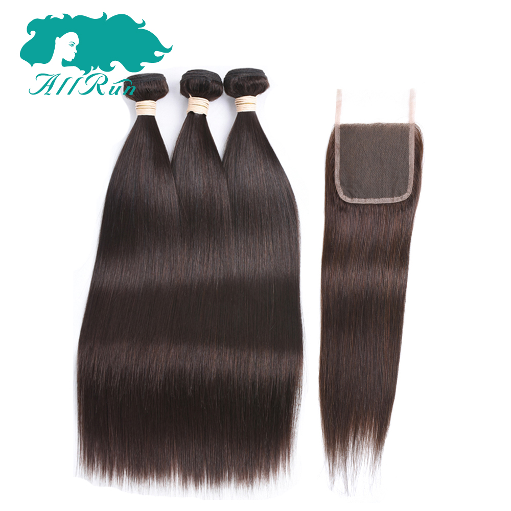 Allrun Pre-Colored Straight Hair 3 bundles With Closure 4*4 Peruvian 100% Human Hair extensions 2# Non-remy