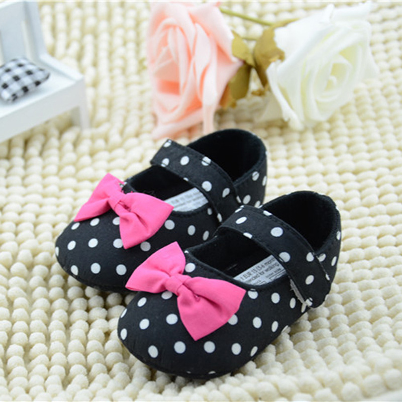 Mother & Kids First Walkers 2018 New Polka Dot Bow Lace Trim Princess Shoes Baby Toddler Cute Shoes First Walkers High Quality Newborn Shoes Easy To Lubricate