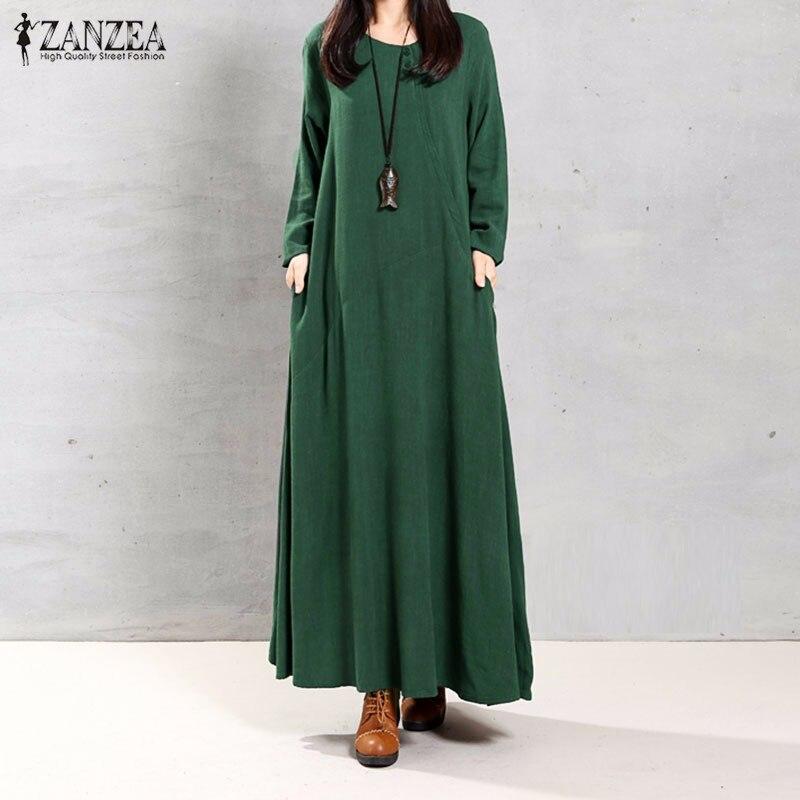 ZANZEA Women Dress 2018 Autumn Retro Maxi Long Dress O Neck Long Sleeve Pockets Casual Loose Solid Cotton Plus Size Vestidos