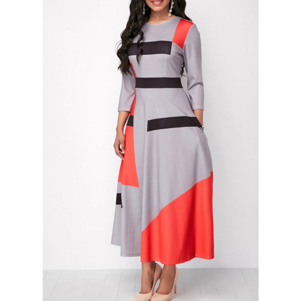 Slim Striped Long Boho Maxi Patchwork Summer Dress
