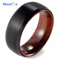SHARDON 8mm Black Tungsten Inner Red wood Ring with Matte Finishing Mens Wood Rings/wood Wedding Band Men's wedding Band