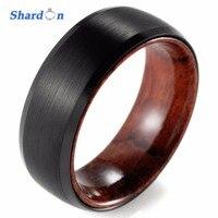 SHARDON 8mm Black Tungsten Inner Red Wood Ring With Matte Finishing Mens Wood Rings Wood Wedding