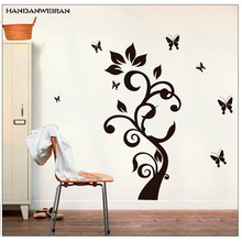 Фотография Black rattan tree Wall stickers 60*90cm Butterfly Living room vestibule decorate Decals Removable PVC Wall stickers