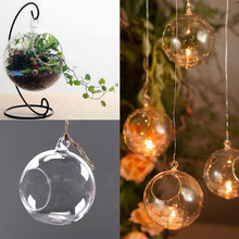 1PC 6CM Hanging Tealight Holder Glass Candle Holder Globes Terrarium Wedding Candlestick Vase Home Hotel Bar Decor(China)