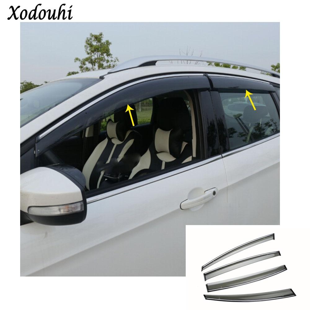 For Ford Kuga 2017 2018 2019 car body cover Stick lamp plastic Window glass Wind Visor Rain/Sun Guard Vent molding 4pcs