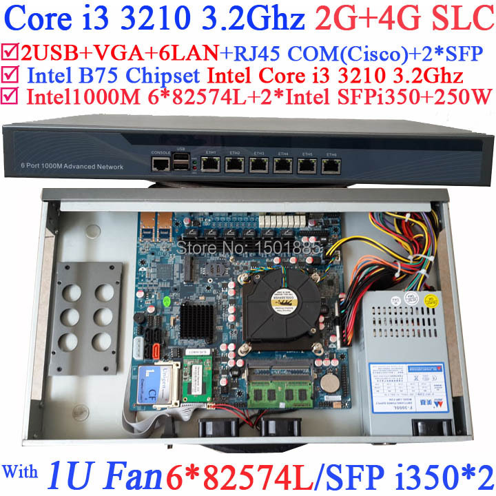 Intel Core i3 3210 Dual Core Four threads 3.2Ghz Office Router server with 2G RAM 4G SLC 1u network router products with six intel pci e 1000m 82574l gigabit lan intel core i3 3210 3 2ghz mikrotik ros 2g ram 4g slc