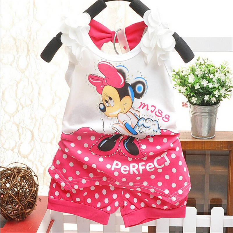 BibiCola New Infant kids Sport Suit Clothes set Minnie Mouse Baby Girls Summer Clothing set Children Tracksuit Tshirt+short Pant baby girl clothing syriped short sleeve tshirt pant headband 2pcs set summer baby girls clothes set roupa de bebe