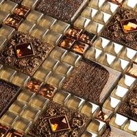 15 sheets/lot brown glass mosaic tiles for kitchen backsplash bathroom shower fireplace, Homer Mosaic