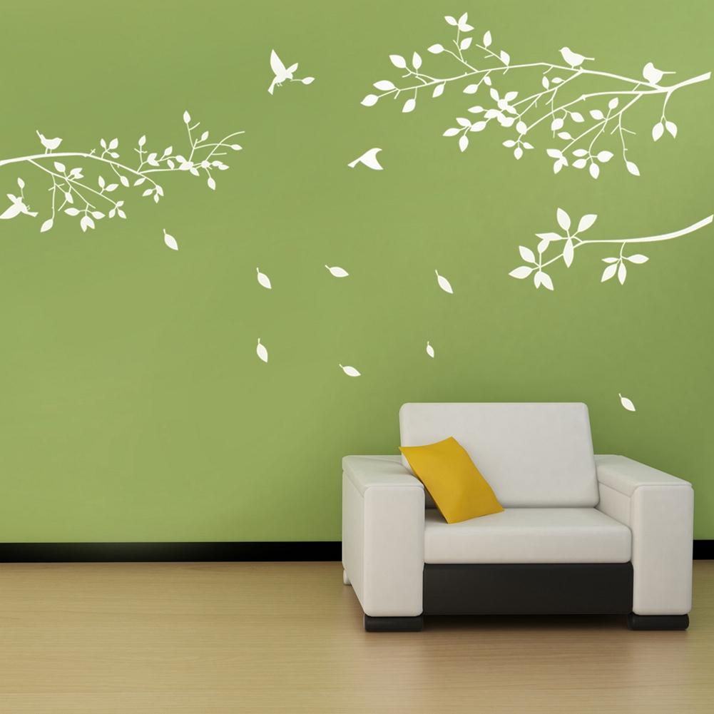 Fashion Wall Sticker White Tree Branches Birds Leaves Home Decor Stickers Living Room Decals