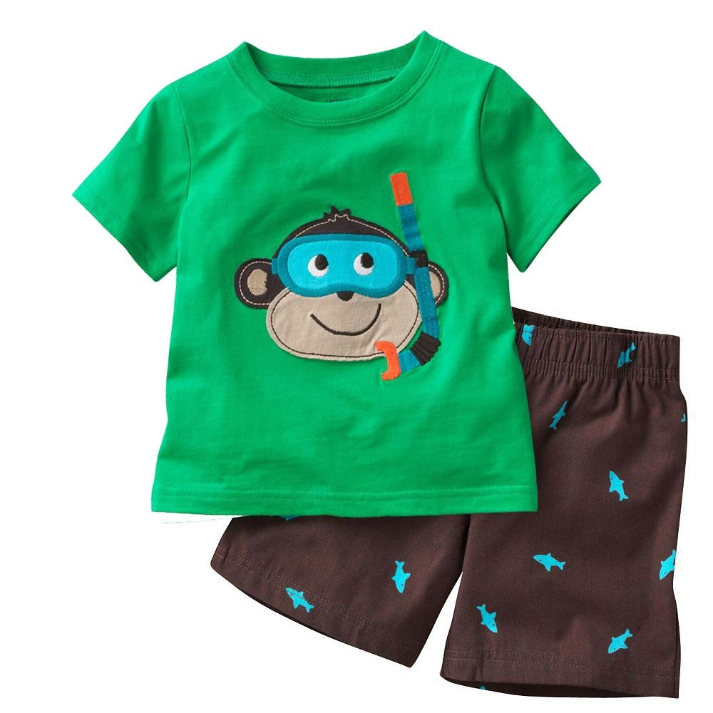 Grey Boy Pajamas Clothes Suit Summer Short Racing Motorcycle Children Pj's Tee Shirt Pant 2-Pieces Sleepwear Boys Tops 2-7 Years 3