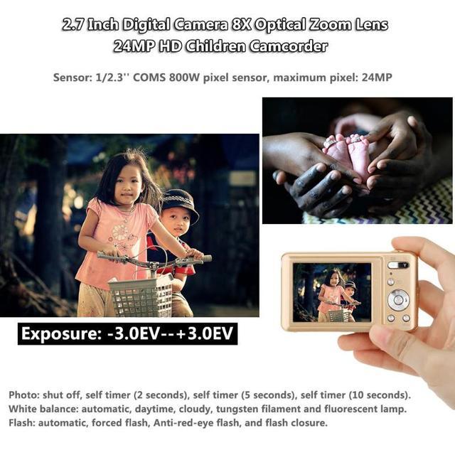 ALLOYSEED 2.7 Inch Digital Camera 8X Optical Zoom Lens 24MP HD Children Camcorder Video Recorder Anti-Shake Photo DV