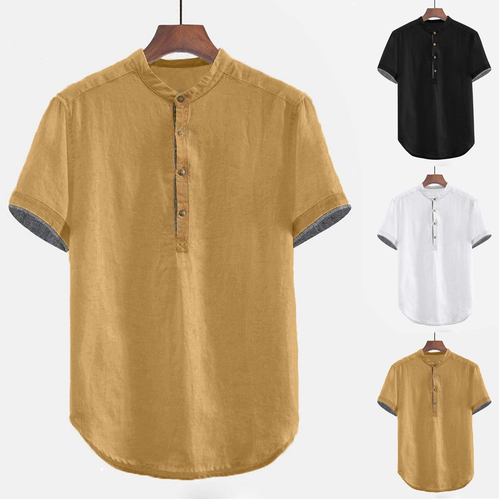2019 Summer Men Baggy Solid Cotton Linen Short Sleeve Button Plus Size Shirt Tops Blouse M-3XL Hawaiian Camisa Masculina