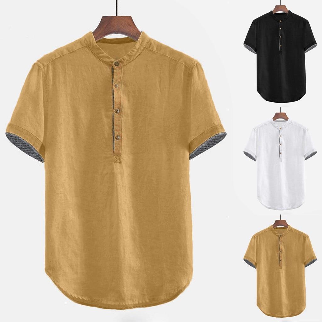 2019 Summer Men Baggy Solid Cotton Linen Short Sleeve Button Plus Size Shirt Tops Blouse M-3XL Hawaiian Camisa Masculina