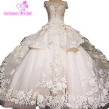 Ärmlös lyxig mode brudklänning 2018 Snörblomma Vintage Bröllopsklänning Vestido De Noiva Turkiet Muslim Bröllopsklänning