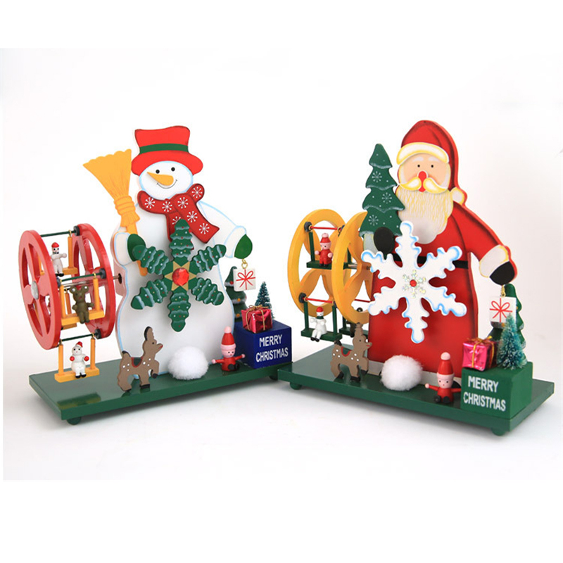 New Christmas Music Box Wooden Hand made Santa Claus Snowman Sky ...