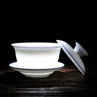 Azul y blanco de cerámica tetera Gaiwan kung fu tazón de té de gran capacidad
