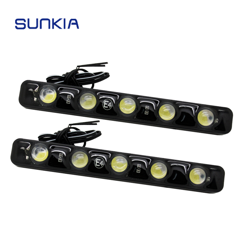 SUNKIA LED Universal 100% Waterproof Car 5 LED Daytime Running Light DRL Fog Warning Decorative Lamp Super Bright
