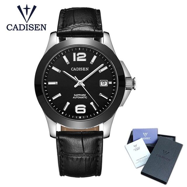 CADISEN Relógios Clássico Mens AUTO Data Mecânico automático Relógio Esqueleto Analógico Black Leather Man preto de cerâmica relógio de Pulso