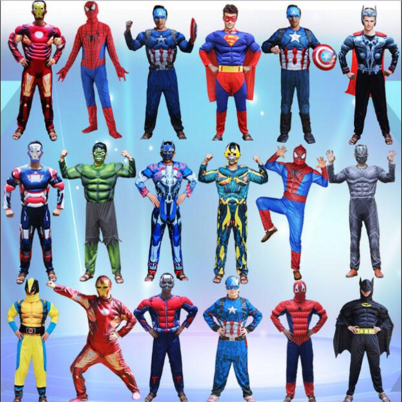 SuperHero Adult Captain America Muscle Cosplay Costume and War Avengers Batman Superhero Halloween Costume Spider-Man Jumpsuit