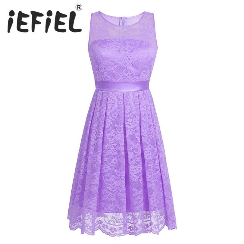 iEFiEL New Arrival Women Ladies Floral Lace Bridesmaid Short Summer Ball Gowns Dress Women Elegant Prom Knee Length Formal Dress