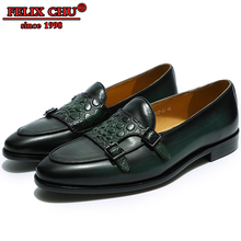 LUXURY LEATHER MEN SHOES SPRING AUTUMN LOAFER DOUBLE MONK STRAP CASUAL DRESS WEDDING PARTY BANQUET GREEN