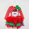 Sotida Vestidos de Meninas 2016 Novo Homem Do Natal Das Meninas Dot Vestido de Traje de Roupas da cor das crianças das crianças Vestidos de Algodão Vermelho 2-6 T