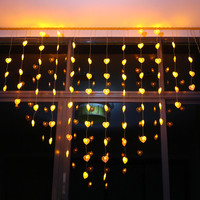 AC220V Christmas led Curtain string light Indoor/Outdoor decoration Heart Shape Romantic lighting for Window,Holiday,New Year