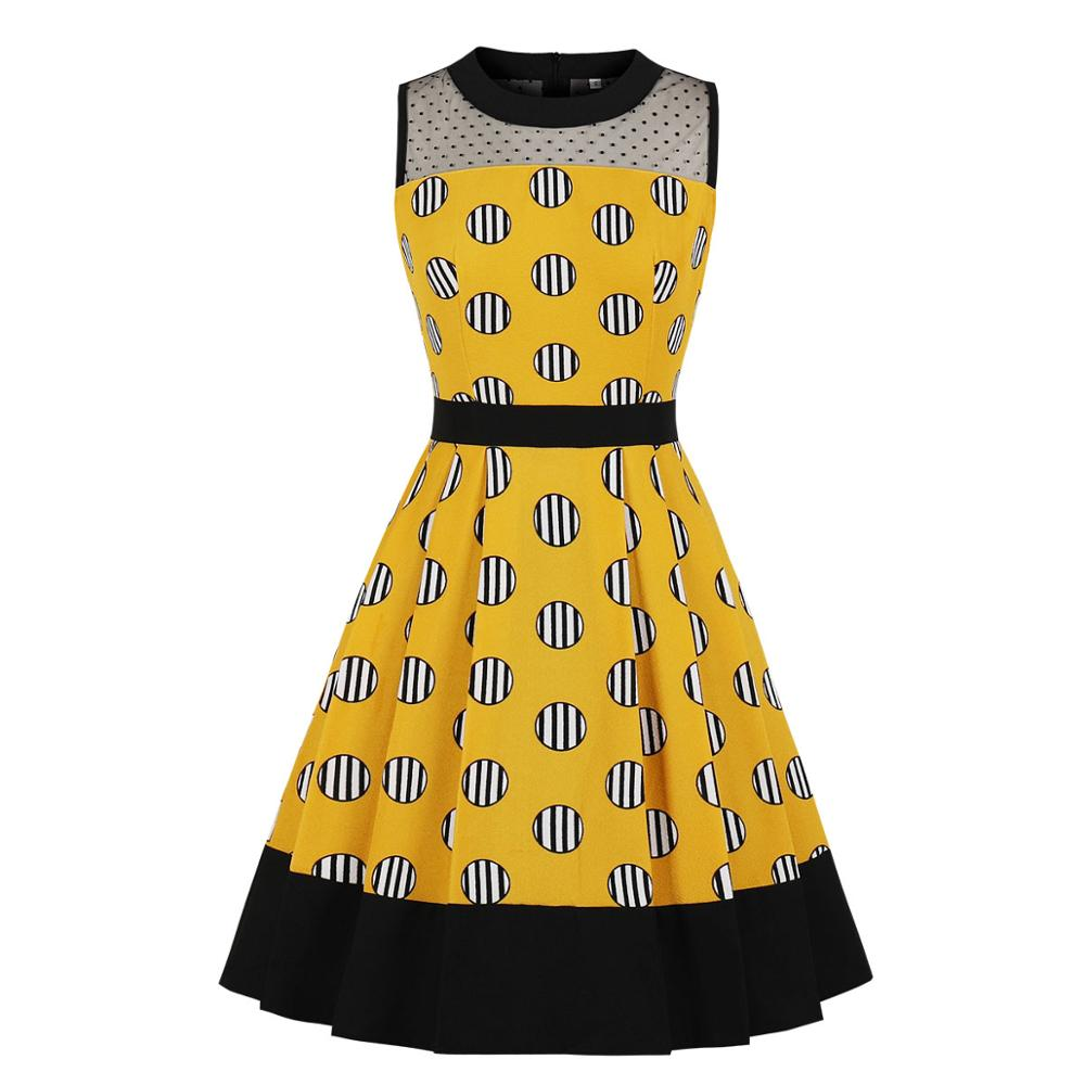 Yellow Polka Dot Dress Stripe O Neck Mesh Robe Vintage Femme S XXL High Quality Fashion Women 2019 Waist Dresses