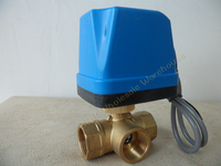AC220V DN20(G3/4) Electric Motorized Brass Ball Valve 3 Way 3 Wire with Actuator M03 dropship with LED indicateor light