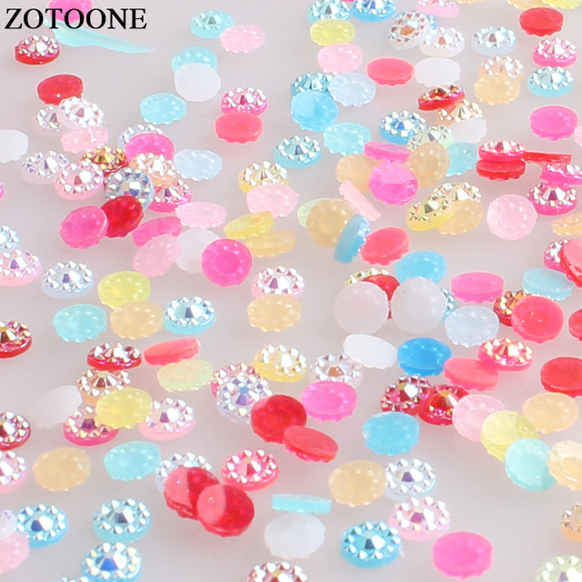 ZOTOONE 1000pcs Flower Stones Flatback Glue on Resin Rhinestone Crystals  colorful Nail Rhinestones for Clothing Strass Applique f033d8a7750a