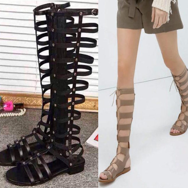 e7696ab1f92ad9 2015 summer ladies fashion cool boots girls sandalias genuine leather flat  knee high gladiator sandals Strappy roman women shoes