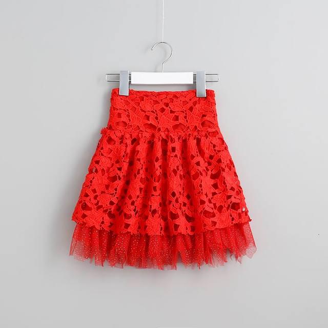 2016 Summer New Girl Princess Skirts Lace Hollow Glitter Gauze TUTU Fluffy Skirts Children Clothing 2-7T 16920