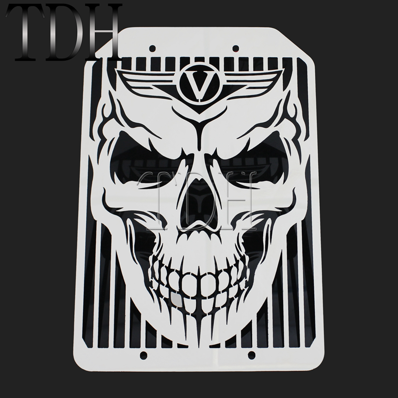 Chrome Motorcycle Skull Skeleton Radiator Grill Mesh Water Cooler Cover Guard Protector For Kawasaki <font><b>VN1500</b></font> VN1700 image