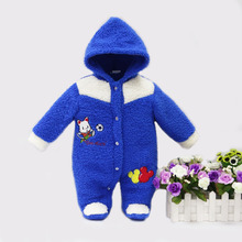 2017 spring winter hot coral fleece hoodie romper embroidery long-sleeve baby clothing girl one piece clothes newborn warm suit