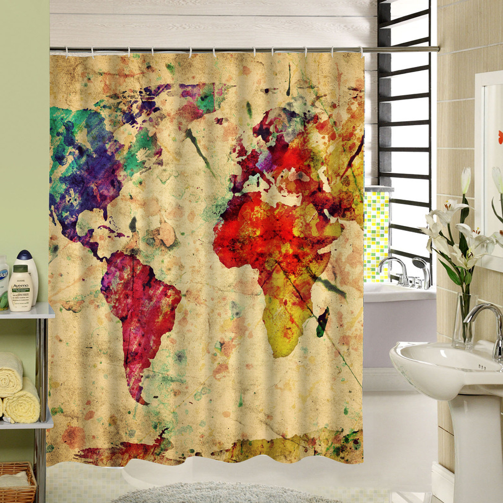 Art Design The Colorful Map Of World Shower Bath Curtain Vintage Painting Pattern 3d For Bathroom Product Set Yellow In Curtains From