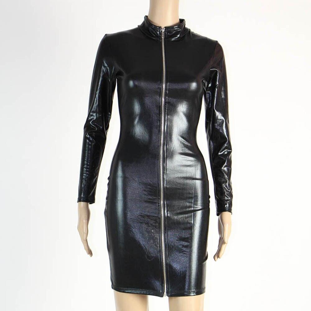 Wonder beauty Sexy Black Club wear Vinyl Wet look Long Sleeve Cut Out Faux Leather Women Midi Dress W207747