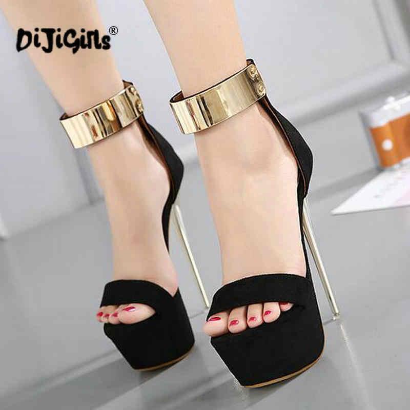 Dropship Ayak Bileği Kayışı Topuklu platform sandaletler parti ayakkabıları Kadınlar Için Düğün Pompaları 16 cm Yüksek Topuklu Payetli Gladyatör Sandalet Siyah