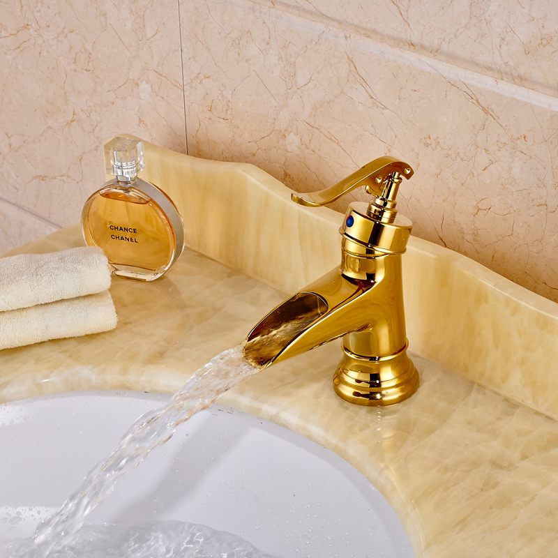 spedizione gratuita ottone deck mounted bagno rubinetti manico unico cascata doro rubinetto lavabo