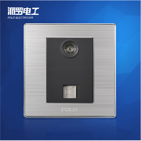 Free Shipping, POLO Luxury Wall Light Switch Panel, TV+TEL Socket, Champagne/Black, Electric Socket, 10A, 110~250V, 220V 2018 hot sale 6 pin multifunction socket wallpad luxury wall switch panel plug socket 118 72mm 10a 110 250v