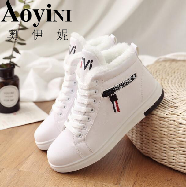 2019 Winter Boots Women Ankle Boots Warm Winter Woman Shoes Sneakers flats Lace Up Ladies Shoes Women Short Snow Boots