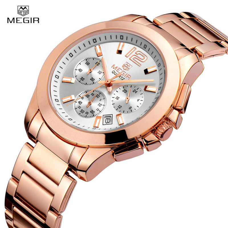 Luxury Megir Brand Watch Women Multifunction Waterproof Date Clock Women Watch Full Steel Fashion Quartz Watch Relogio Feminino meibo brand fashion women hollow flower wristwatch luxury leather strap quartz watch relogio feminino drop shipping gift 2012