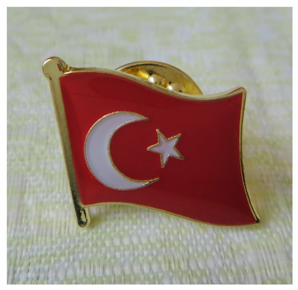 Turkey Country Single Pin 16mm Made by Iron Painted and Epoxy Surface 1pcs Butterfly Button Backing MOQ300pcs free shipping