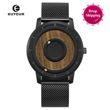 EUTOUR Top Brand Luxury Magnetic Ball Watch Men Leather Military Strap Mens WristWatch Waterproof Quartz erkek kol saati